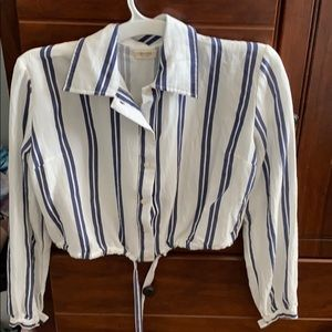 White blouse with navy blue stripes